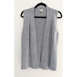 Talbots Gray Sleeveless Cardigan Sweater Large